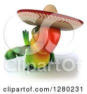Clipart Of A 3d Green Mexican Macaw Parrot Pointing Outwards Royalty Free Illustration