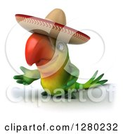 Clipart Of A 3d Green Mexican Macaw Parrot Presenting And Facing To The Left Royalty Free Illustration