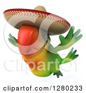Clipart Of A 3d Green Mexican Macaw Parrot Flying And Facing To The Left Royalty Free Illustration