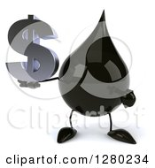 Clipart Of A 3d Oil Drop Character Holding And Pointing To A Dollar Symbol Royalty Free Illustration