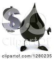 Clipart Of A 3d Oil Drop Character Holding A Thumb Down And A Dollar Symbol Royalty Free Illustration