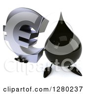 Clipart Of A 3d Oil Drop Character Holding Up A Euro Symbol Royalty Free Illustration