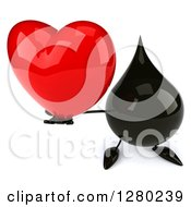 Clipart Of A 3d Oil Drop Character Holding Up A Heart Royalty Free Illustration