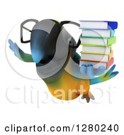 Clipart Of A 3d Bespectacled Blue And Yellow Macaw Parrot Flying With A Stack Of Books Royalty Free Illustration by Julos