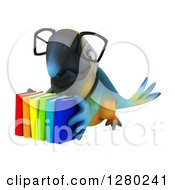 Clipart Of A 3d Bespectacled Blue And Yellow Macaw Parrot Flying With Books Royalty Free Illustration by Julos
