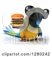 Clipart Of A 3d Blue And Yellow Macaw Parrot Wearing Sunglasses And Holding A Double Cheeseburger Royalty Free Illustration by Julos