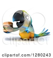 Clipart Of A 3d Blue And Yellow Macaw Parrot Facing Left Holding And Pointing To A Double Cheeseburger Royalty Free Illustration by Julos