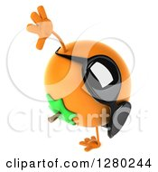 Clipart Of A 3d Orange Character Wearing Sunglasses Facing Right And Cartwheeling Royalty Free Illustration by Julos