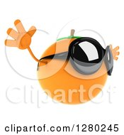 Clipart Of A 3d Orange Character Wearing Sunglasses Facing Right And Jumping Royalty Free Illustration by Julos