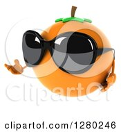 Clipart Of A 3d Orange Character Wearing Sunglasses And Presenting To The Left Royalty Free Illustration by Julos