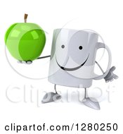 Clipart Of A 3d Happy Coffee Mug Shrugging And Holding A Green Apple Royalty Free Illustration