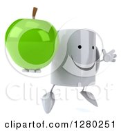 Clipart Of A 3d Happy Coffee Mug Facing Slightly Right Jumping And Holding A Green Apple Royalty Free Illustration