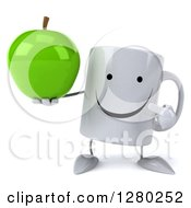 Clipart Of A 3d Happy Coffee Mug Holding And Pointing To A Green Apple Royalty Free Illustration