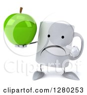 Clipart Of A 3d Unhappy Coffee Mug Holding And Pointing To A Green Apple Royalty Free Illustration