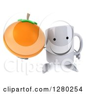 Clipart Of A 3d Happy Coffee Mug Holding Up An Orange Royalty Free Illustration