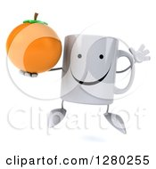 Clipart Of A 3d Happy Coffee Mug Jumping And Holding An Orange Royalty Free Illustration