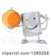 Clipart Of A 3d Happy Coffee Mug Holding Up A Finger And An Orange Royalty Free Illustration