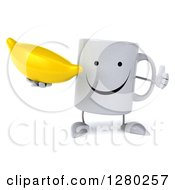 Clipart Of A 3d Happy Coffee Mug Holding A Thumb Up And A Banana Royalty Free Illustration