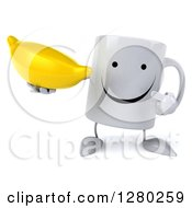 Clipart Of A 3d Happy Coffee Mug Holding And Pointing To A Banana Royalty Free Illustration