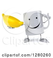 Clipart Of A 3d Happy Coffee Mug Holding Up A Finger And A Banana Royalty Free Illustration