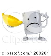 Clipart Of A 3d Unhappy Coffee Mug Holding Up A Finger And A Banana Royalty Free Illustration