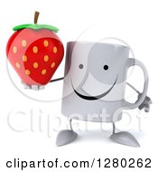 Clipart Of A 3d Happy Coffee Mug Holding A Strawberry Royalty Free Illustration