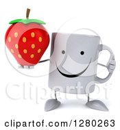 Clipart Of A 3d Happy Coffee Mug Holding A Thumb Up And A Strawberry Royalty Free Illustration