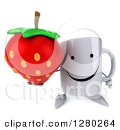 Clipart Of A 3d Happy Coffee Mug Holding Up A Strawberry Royalty Free Illustration
