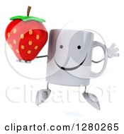 Clipart Of A 3d Happy Coffee Mug Jumping And Holding A Strawberry Royalty Free Illustration