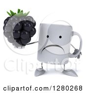 Clipart Of A 3d Unhappy Coffee Mug Holding A Blackberry Royalty Free Illustration
