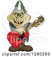 Clipart Of A Bride Of Frankenstein Playing An Acoustic Guitar Royalty Free Vector Illustration