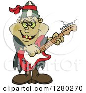 Clipart Of A Bride Of Frankenstein Playing An Electric Guitar Royalty Free Vector Illustration