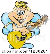 Clipart Of A Happy Fairy Playing An Acoustic Guitar Royalty Free Vector Illustration by Dennis Holmes Designs