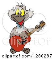 Clipart Of A Happy Emu Bird Playing An Acoustic Guitar Royalty Free Vector Illustration by Dennis Holmes Designs
