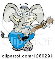 Clipart Of A Happy Elephant Playing An Acoustic Guitar Royalty Free Vector Illustration by Dennis Holmes Designs