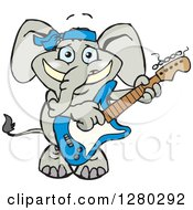 Clipart Of A Happy Elephant Playing An Electric Guitar Royalty Free Vector Illustration by Dennis Holmes Designs