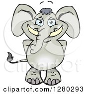Clipart Of A Happy Gray Elephant Standing Royalty Free Vector Illustration by Dennis Holmes Designs