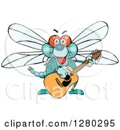 Clipart Of A Happy Dragonfly Playing An Acoustic Guitar Royalty Free Vector Illustration by Dennis Holmes Designs