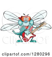 Clipart Of A Happy Dragonfly Playing An Electric Guitar Royalty Free Vector Illustration by Dennis Holmes Designs