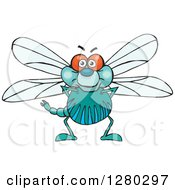 Clipart Of A Happy Dragonfly Standing Royalty Free Vector Illustration by Dennis Holmes Designs
