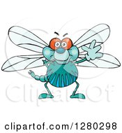 Clipart Of A Friendly Waving Dragonfly Royalty Free Vector Illustration by Dennis Holmes Designs