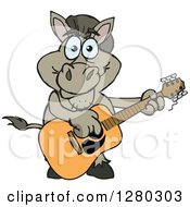 Clipart Of A Happy Donkey Playing An Acoustic Guitar Royalty Free Vector Illustration by Dennis Holmes Designs