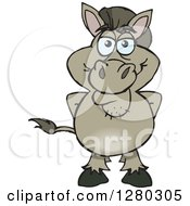 Clipart Of A Happy Donkey Standing Royalty Free Vector Illustration by Dennis Holmes Designs
