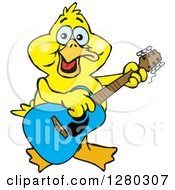 Clipart Of A Happy Yellow Duck Playing An Acoustic Guitar Royalty Free Vector Illustration by Dennis Holmes Designs