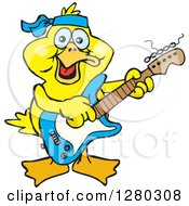 Clipart Of A Happy Yellow Duck Playing An Electric Guitar Royalty Free Vector Illustration by Dennis Holmes Designs