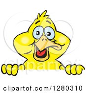 Clipart Of A Happy Yellow Duck Peeking Over A Sign Royalty Free Vector Illustration