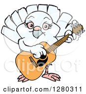 Clipart Of A Happy Dove Playing An Acoustic Guitar Royalty Free Vector Illustration by Dennis Holmes Designs