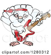 Clipart Of A Happy Dove Playing An Electric Guitar Royalty Free Vector Illustration by Dennis Holmes Designs