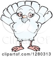 Clipart Of A Happy White Dove Royalty Free Vector Illustration