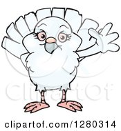 Clipart Of A Happy White Dove Waving Royalty Free Vector Illustration